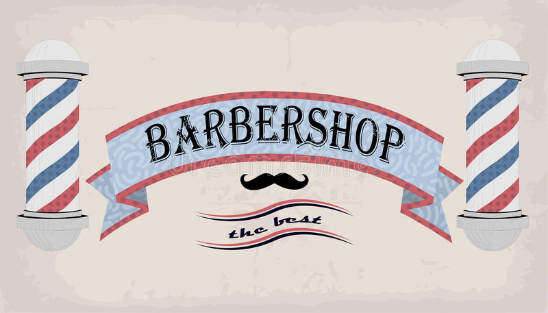 Poster logo sign signboard fascia or shingle for barber, coiffeur, haircutter, vintage retro inscription barbershop. Vector vertic. Al closeup front view stock illustration