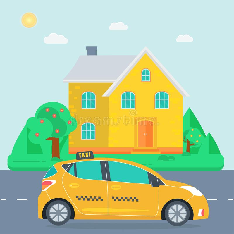 Poster with the machine yellow cab in the city. Public taxi serv. Ice concept with house on the background. Flat vector illustration stock illustration