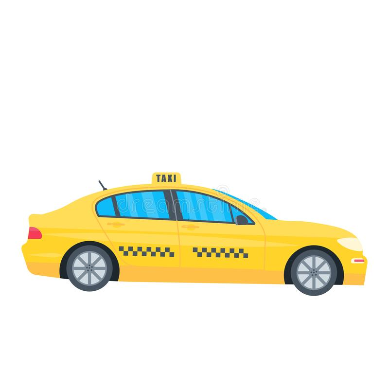 Poster with the machine yellow cab isolated on white background. Public taxi service concept. Flat vector illustration royalty free illustration