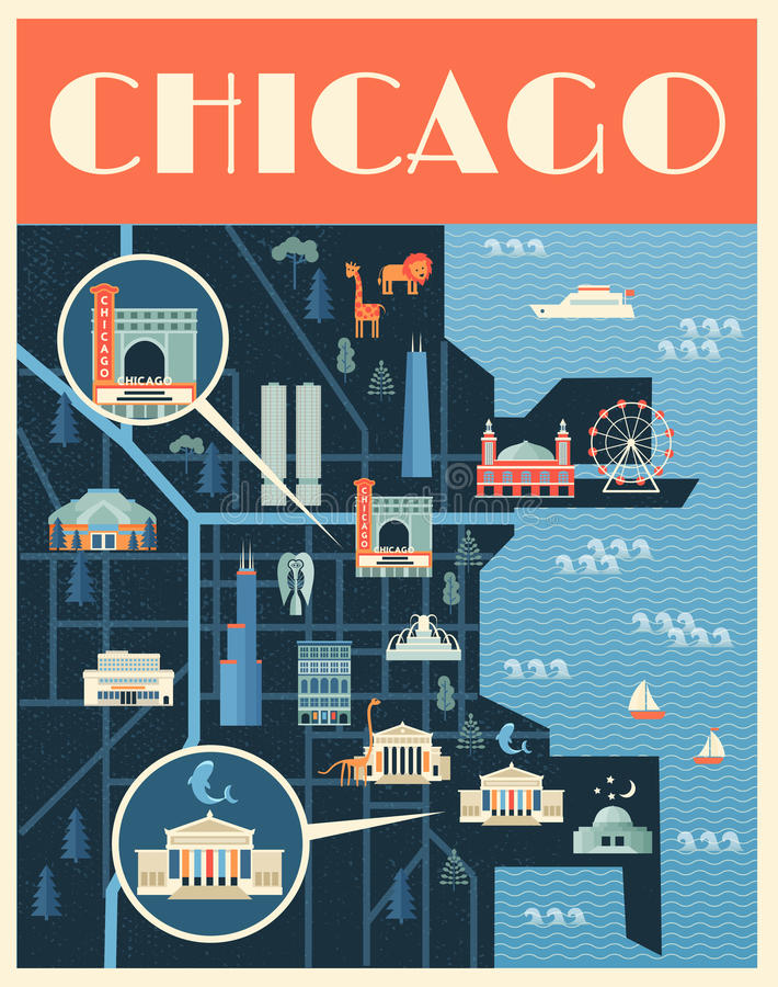 Poster with Map of Chicago landmarks. Vector poster illustration of map with landmarks of Chicago. Famous places, historical buildings, sightseeing and known vector illustration