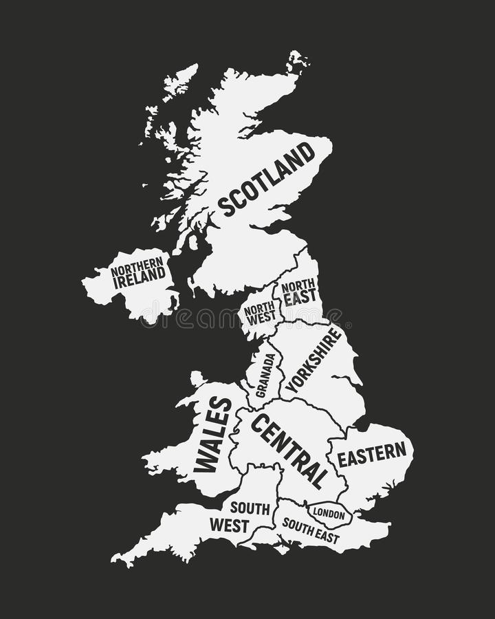 Poster map of United Kingdom map. UK with country and regions names. United Kingdom background. Vector illustration. Poster map of United Kingdom map. UK with royalty free illustration