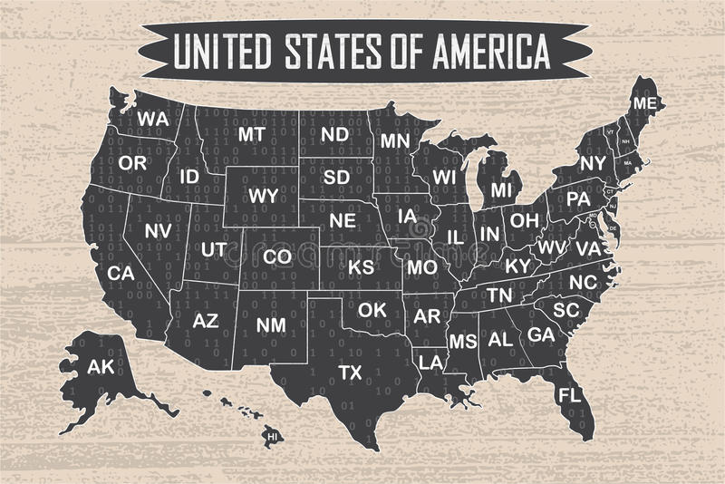 Poster Map Of United States Of America With State Names And Binary