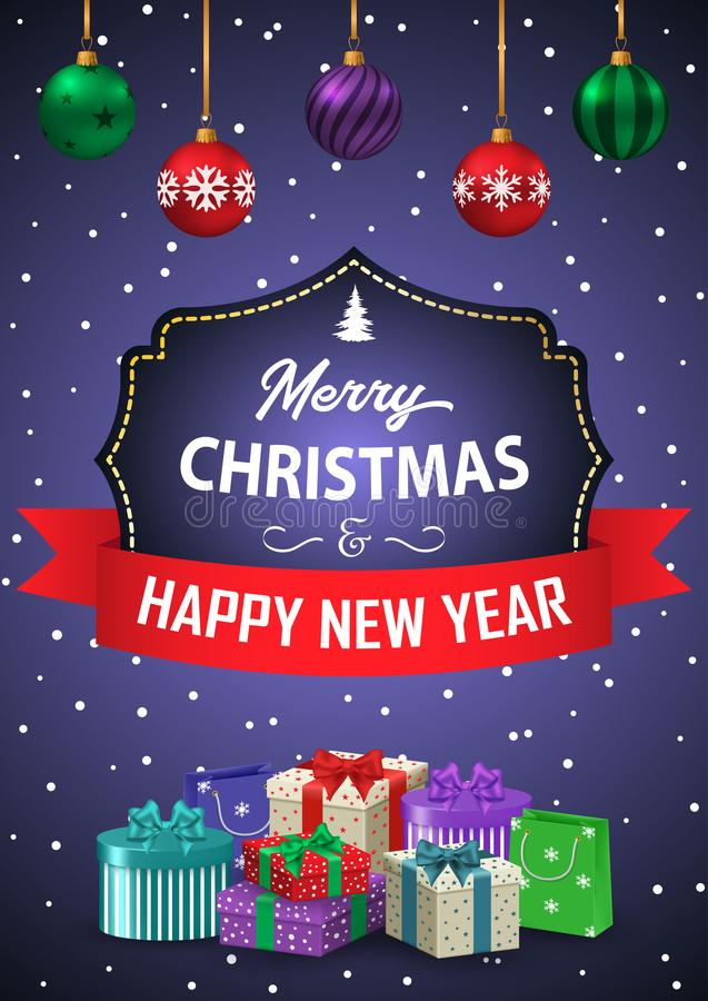 Poster Merry Christmas and Happy New Year. The inscription. In a decorative frame with ribbon and gifts on a purple background. Vector illustration stock illustration