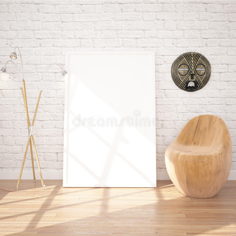 Poster Mock-UP In Contemporary Interior With Floor Lamp And Chair. White bricks and wooden floor planks. Perfect Background To Present Your Designs And Photos royalty free illustration