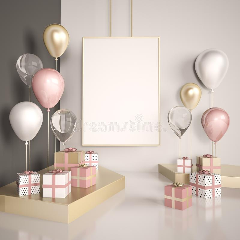 Poster mock up 3d render interior scene. Pastel pink and gold balloons with gift boxes on the white floor. Glass and metal element vector illustration