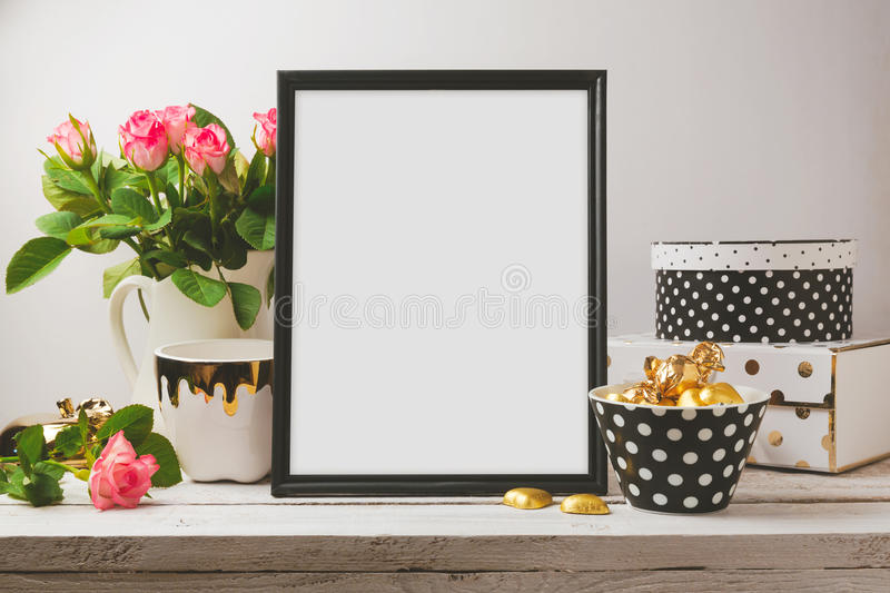 Poster mock up with glamour and elegant objects royalty free stock image