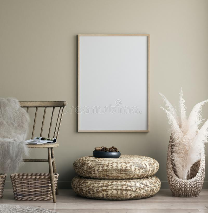Free Poster Mock Up In Home Interior With Old Bench, Scandinavian Bohemian Style Stock Photo - 161013230