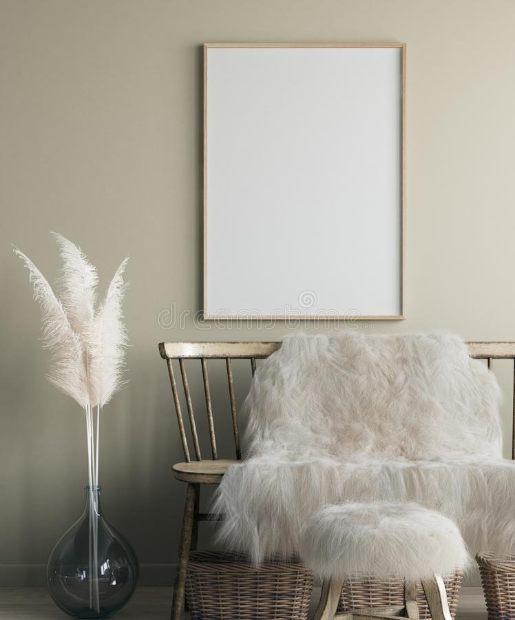 Free Poster Mock Up In Home Interior With Old Bench, Scandinavian Bohemian Style Stock Images - 161013344