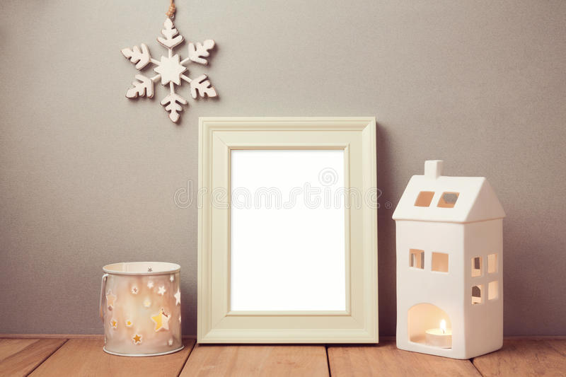 Poster mock up template for Christmas holiday with candles stock photography