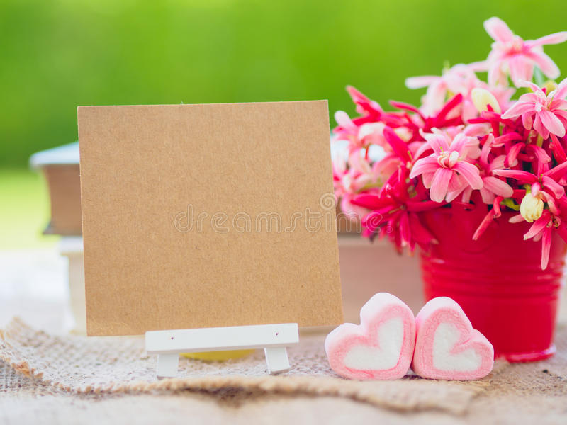 Poster mock up template with flower bouquet, royalty free stock images