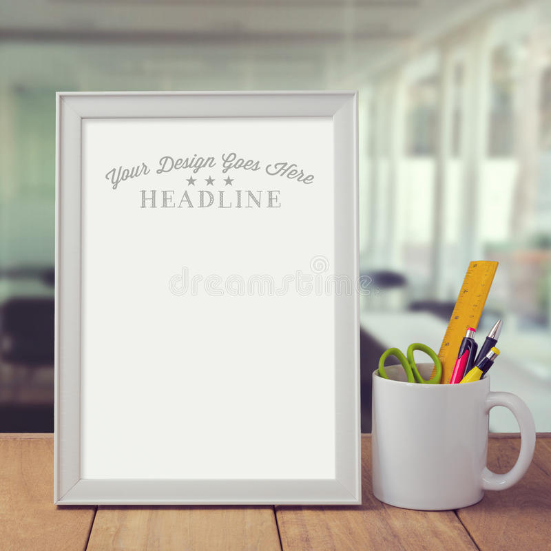 Poster mock up template over office background stock photo