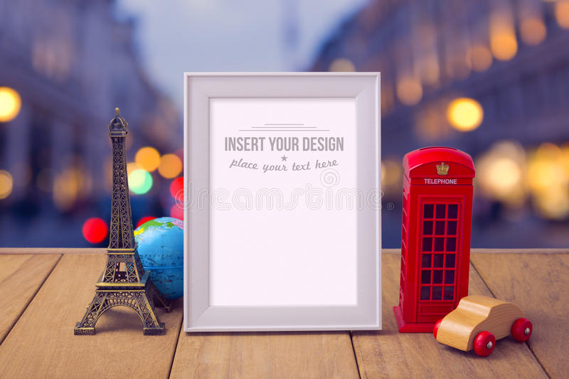 Poster mock up template with travel souvenirs over city bokeh background. Summer vacation concept stock photos