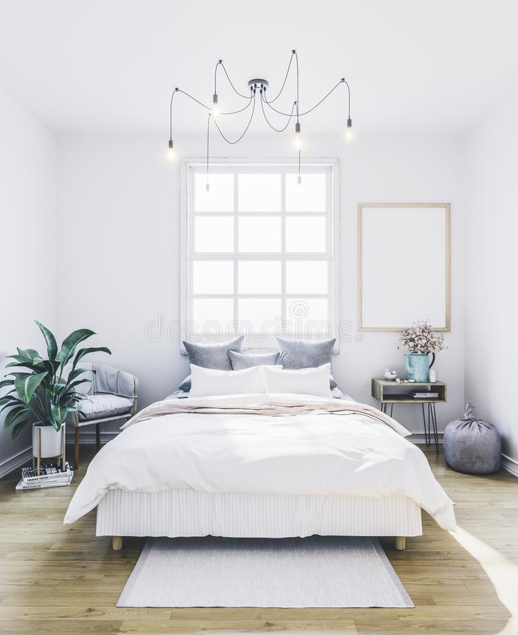 Poster mockup in bedroom. Empty frame in interior. royalty free stock photo