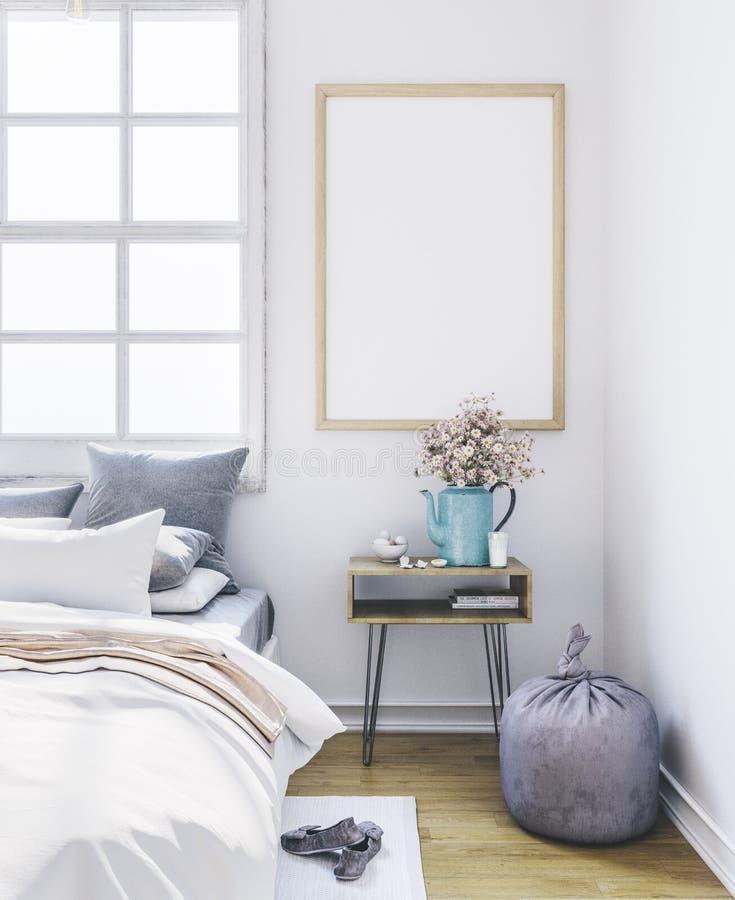 Poster mockup in bedroom. Empty frame in interior. stock photos