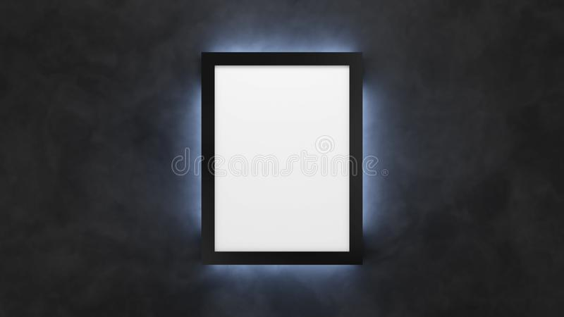 Poster mockup on the black wall with backlight. 3d render lightbox template. royalty free illustration