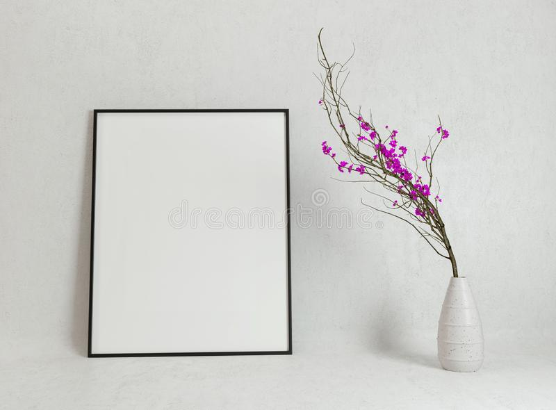 Poster mockup with decorative flowers of sakura. 3D render. Blank poster mockup with decorative flowers of sakura cherry. 3D render illustration stock illustration