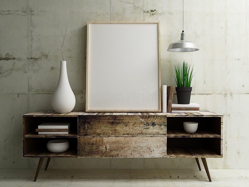 Poster Mockup display on vintage wood table. Blank phot frame mockup on vintage table modern building