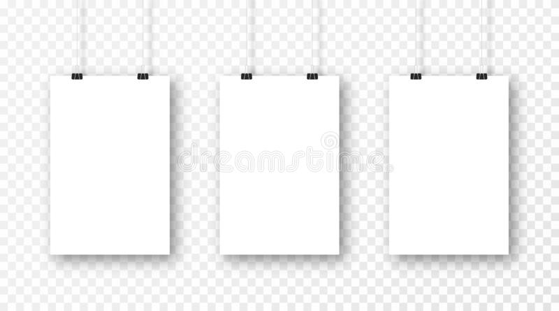 Poster mockup isolated on transparent background. Realistic blank poster template. Set of vertical frame mockups vector illustration