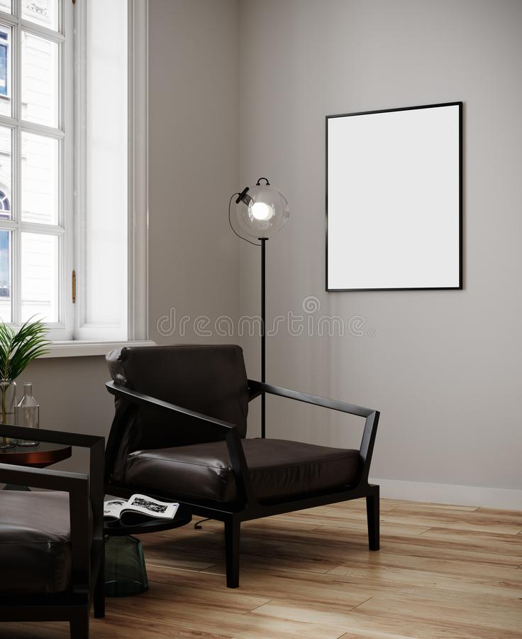 Poster mockup in modern minimalistic interior  with daylight.Modern interior with brown armchairs, lamp, plants and blanket pictur stock illustration