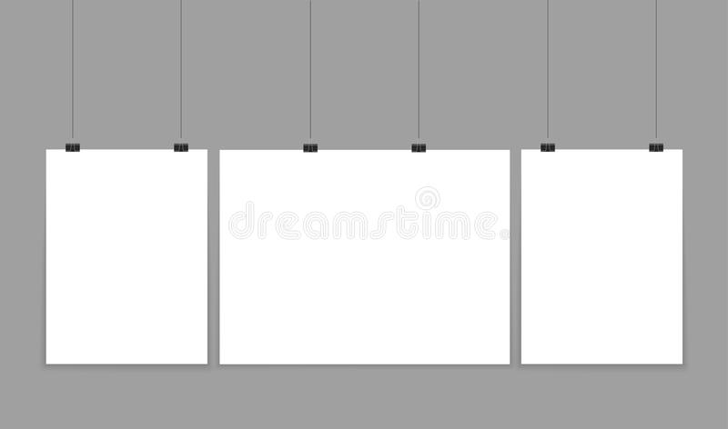 Poster mockup. Vector mock up blank paper hanging on office clip. Paper gallery set on white background. stock illustration
