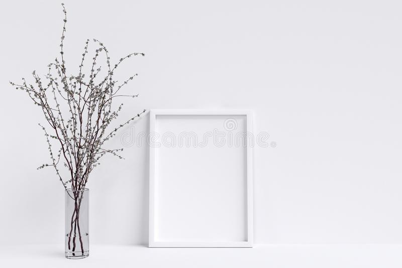 Mock up blank poster on the white wall stock illustration