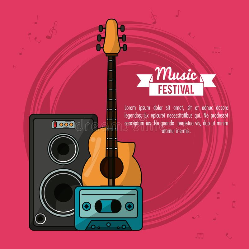 Poster music festival in magenta background with guitar and speaker box and tape cassette royalty free illustration