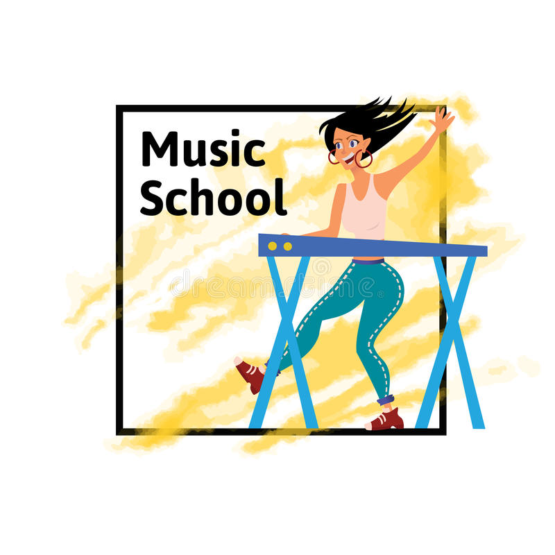 Poster for music schools or concert. Woman playing on synthesizer. Female musician. Female musician keyboardist. Vector vector illustration