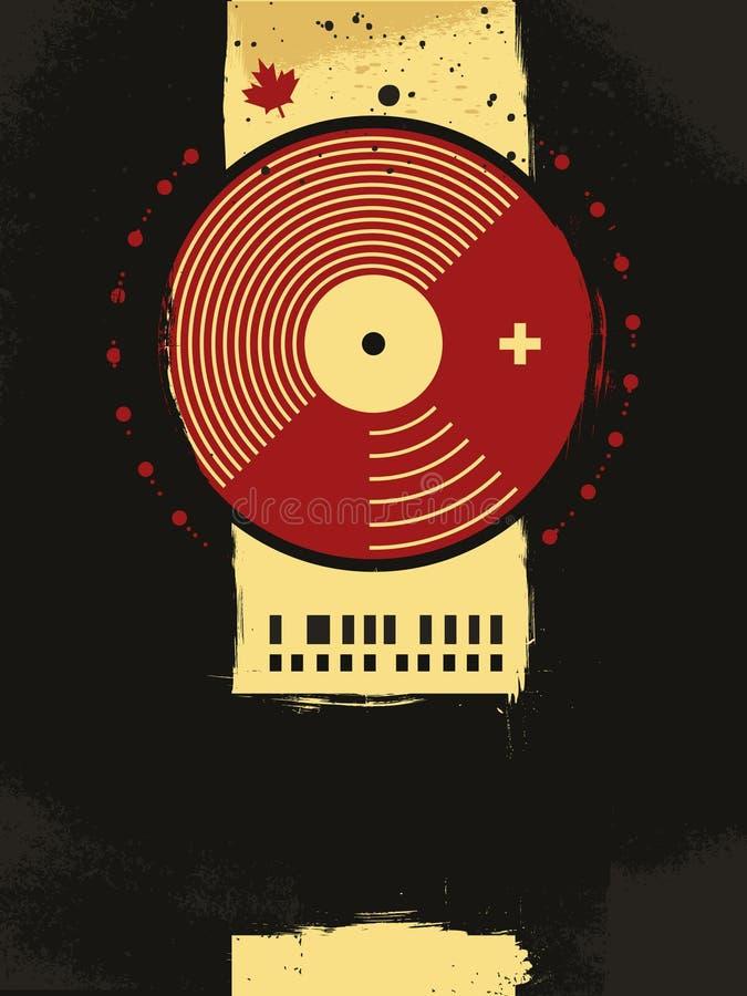 Poster musical abstrato com círculo do vinil ilustração stock
