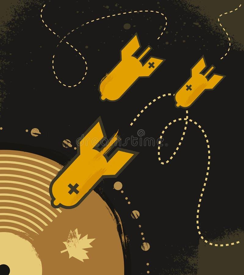Poster musical abstrato com círculo do vinil ilustração do vetor