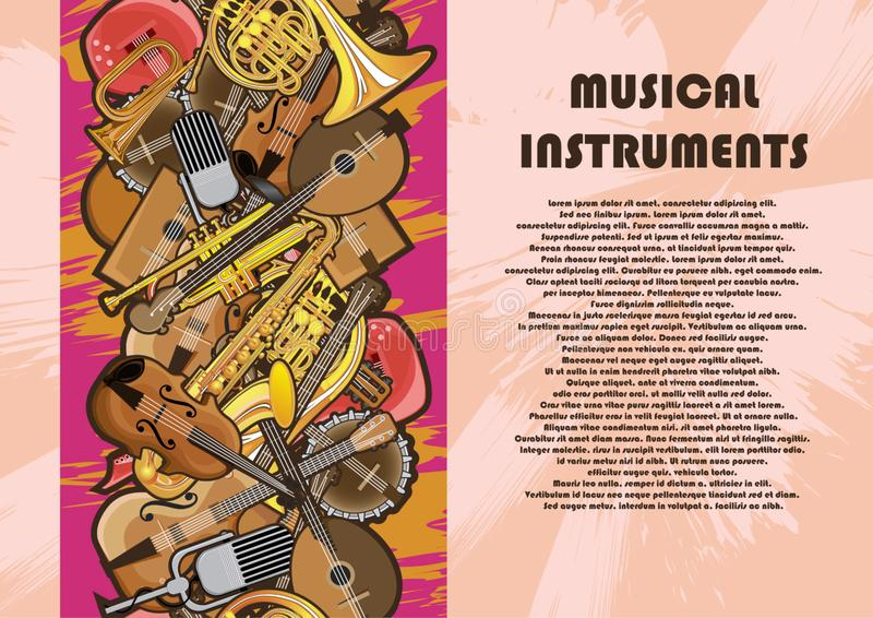 Poster from musical instruments decorated in the form of a frame royalty free illustration