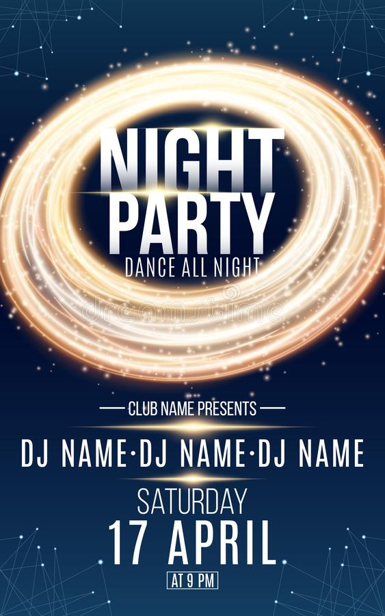 Poster for night dance party. Gold round banner of luminous neon swirling lines. Name of club and DJ. Night party flyer. Blue plex royalty free illustration