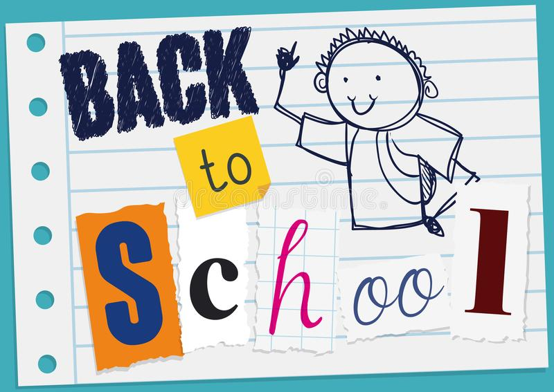 Greeting Message with Doodle and Cuts for Back to School, Vector Illustration royalty free illustration