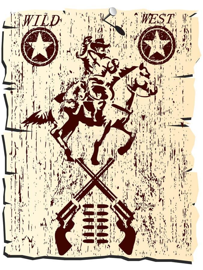 Poster ocidental selvagem ilustração do vetor