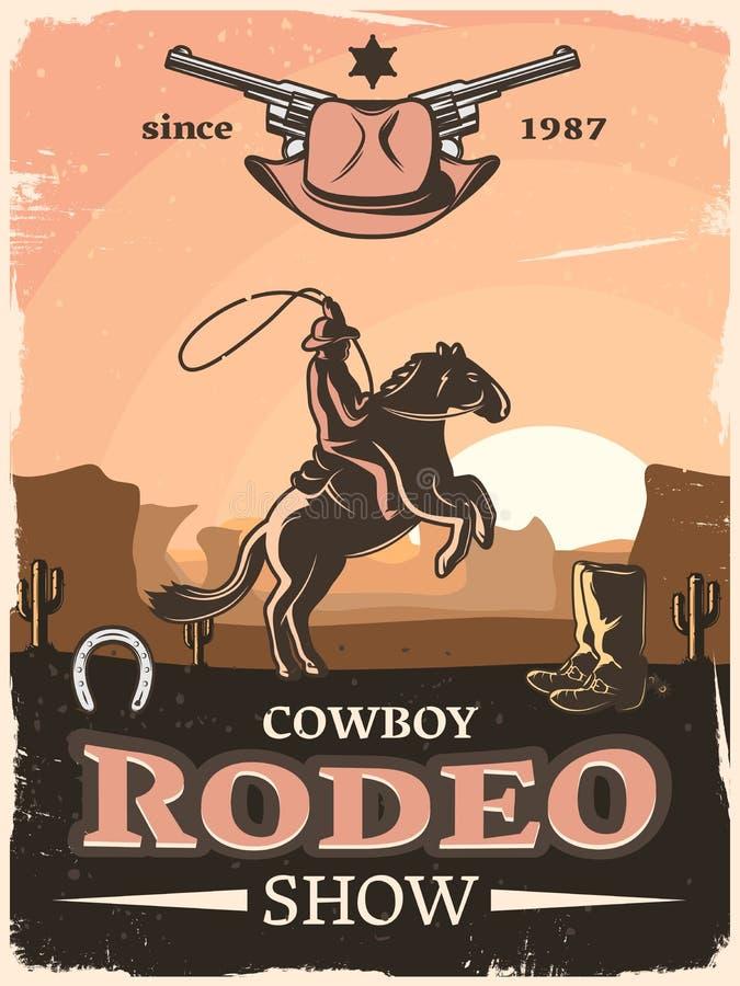 Poster ocidental selvagem ilustração royalty free