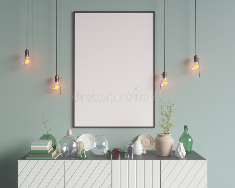 Poster over the cupboard with utensils, minimalism, interior, background, 3D rendering, 3D illustrations royalty free illustration