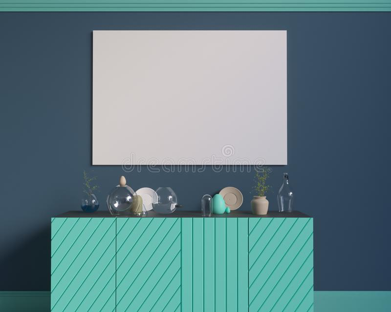 Poster over the cupboard with utensils, minimalism, interior, background, 3D rendering royalty free illustration