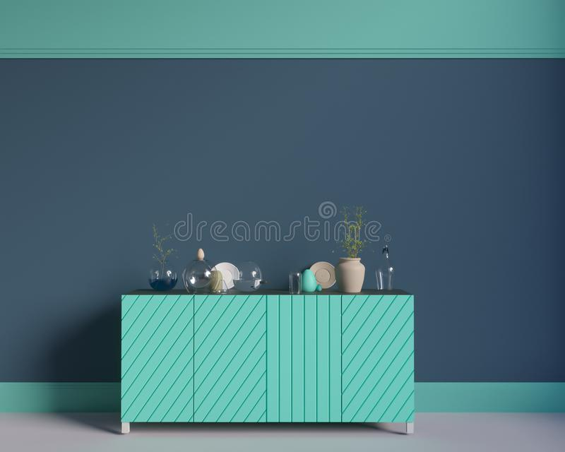 Poster over the cupboard with utensils, minimalism, interior, background, 3D rendering stock illustration