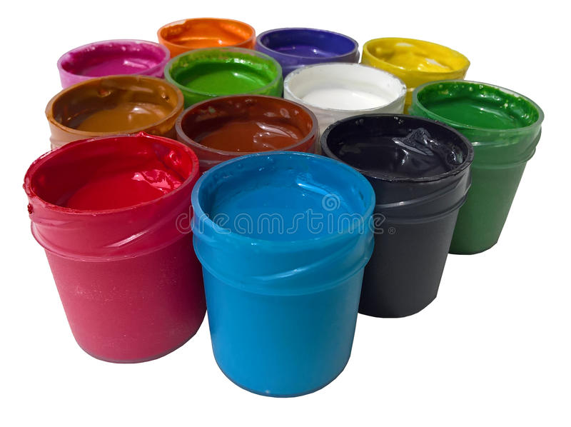 Poster Paint Exposed Isolated. Open containers of poster paint. White background royalty free stock images