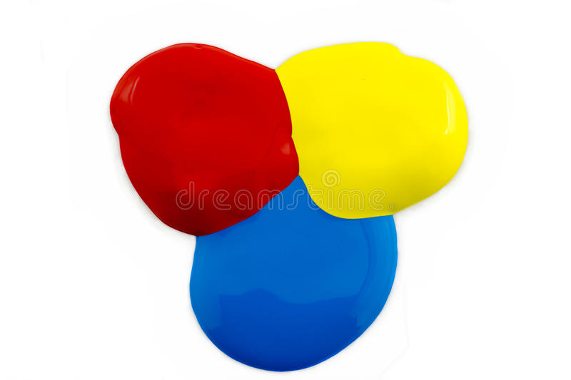 Poster paint. Three colors of poster paint red ,yellow and blue on a white background royalty free stock photo