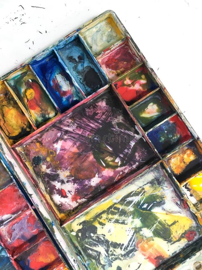 Poster paint tray. Art equipment, paint set box royalty free stock photos