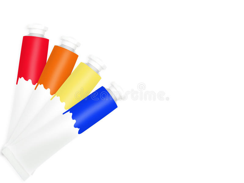 Poster Paint Tubes. Isolated over white background stock photos