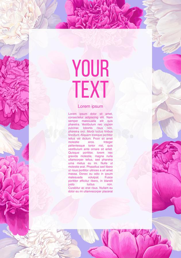 Floral banner with pink and white peonies flowers and petals. vector illustration