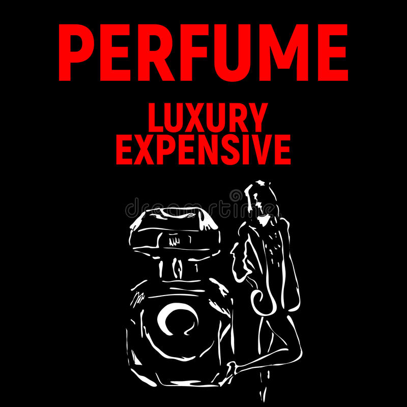 Poster for perfume company with girl royalty free illustration