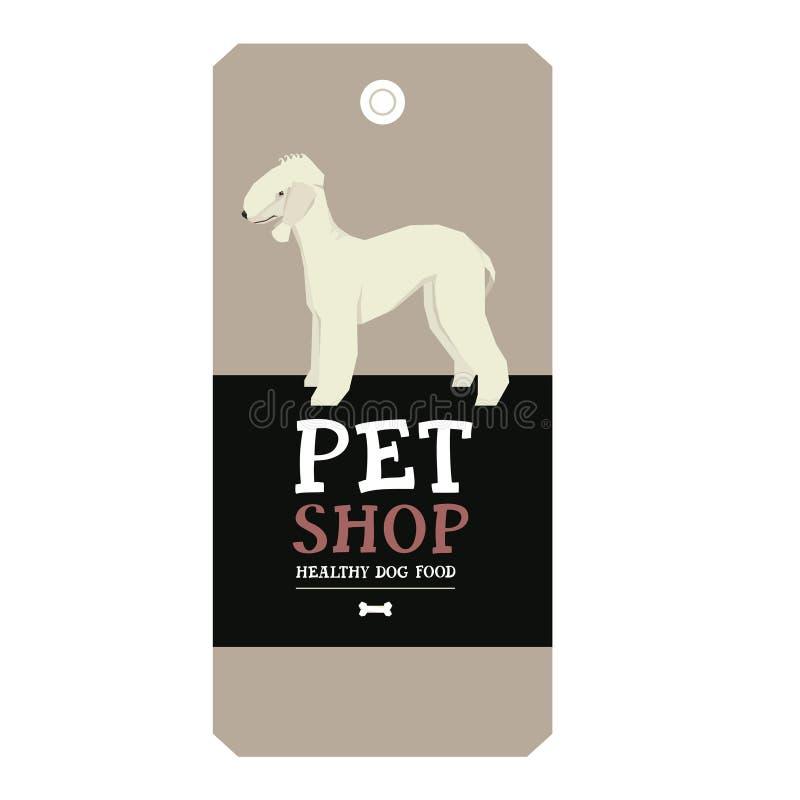 Poster Pet Shop Design label Bedlington Terrier Geometric style vector illustration