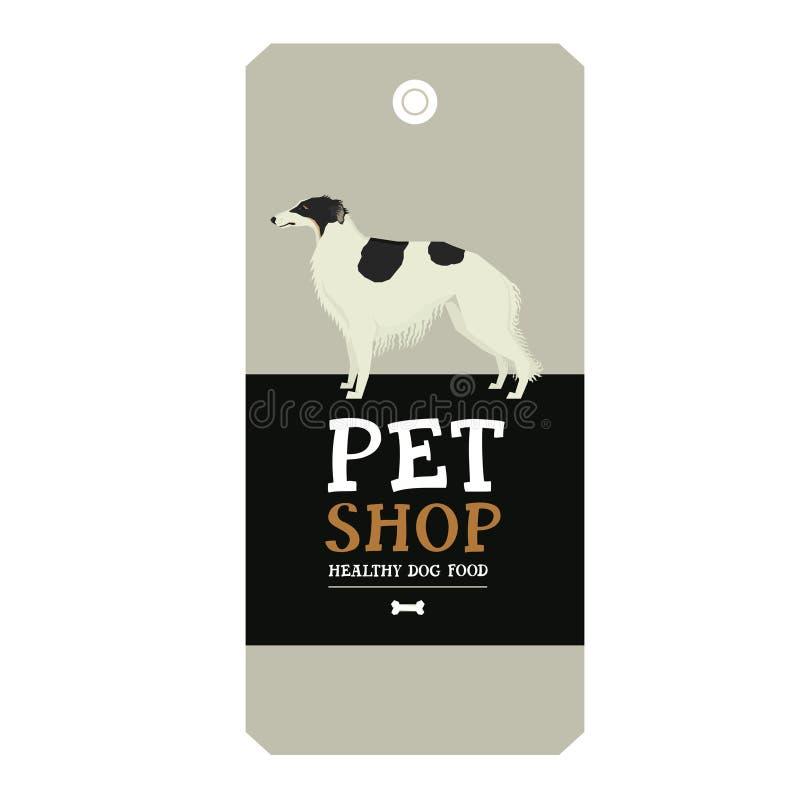 Poster Pet Shop Design label Borzoi Geometric style. Set royalty free illustration