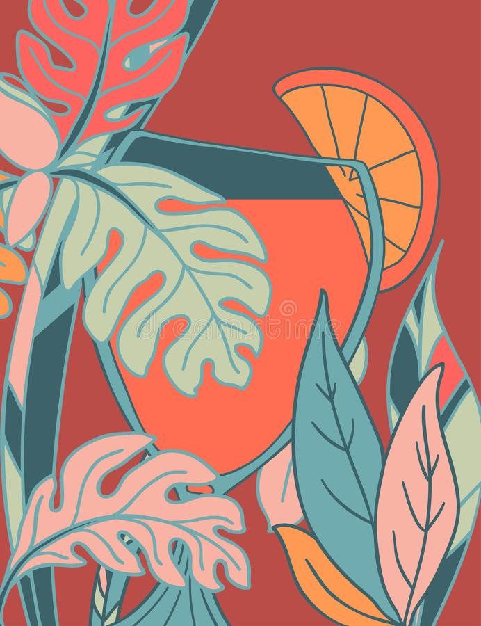 A poster with a picture of the glass and the color of the plants around. Vector vector illustration