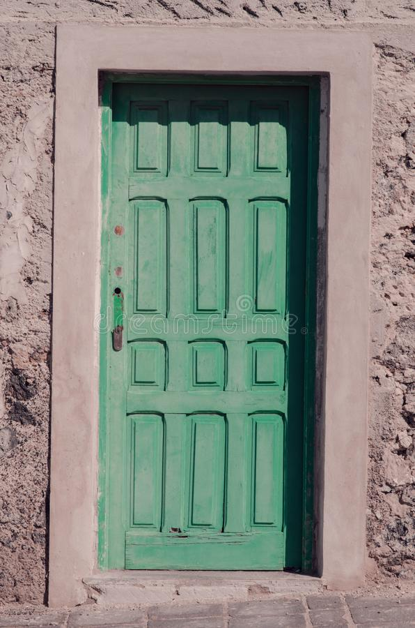 poster: wood door with handle stock image