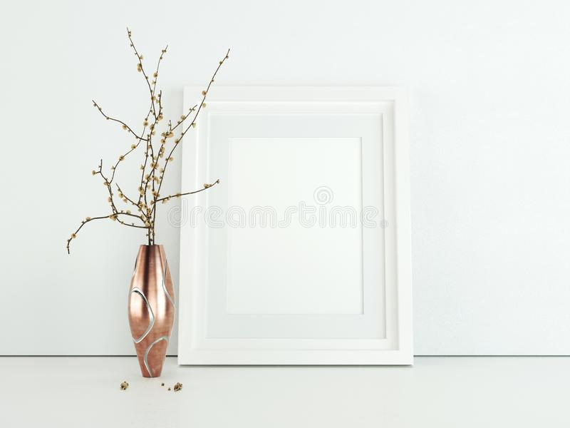 Poster product design styled mockup. Empty frame mockup. stock photos