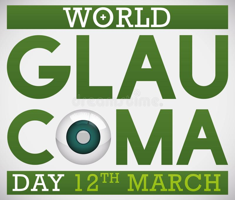 Design for World Glaucoma Day Promoting Awareness with Sick Eye, Vector Illustration. Poster promoting World Glaucoma Day in 12th March with green design and a stock illustration