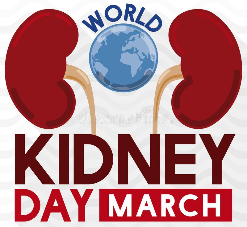 Kidneys with a Globe to Promote World Kidney Day Event, Vector Illustration stock illustration